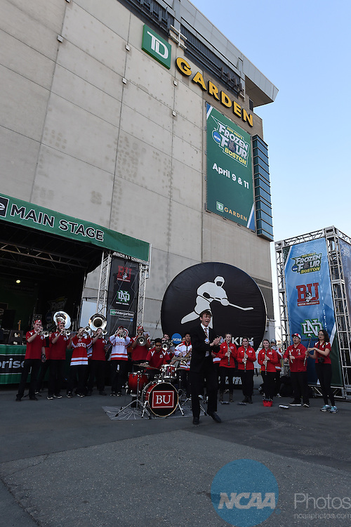 11 APR 2015: Boston University's band performs outside of the TD Garden, the host for the Division I Men's Ice Hockey Championship held in Boston, MA. Brian Babineau/NCAA Photos