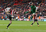 Chris Basham of Sheffield Utd volleys in a shot during the championship match at the Bramall Lane Stadium, Sheffield. Picture date 28th April 2018. Picture credit should read: Simon Bellis/Sportimage