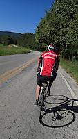 NWA Democrat-Gazette/FLIP PUTTHOFF <br /> Dan Ferritor sports a Razorbacks bike jersey during a ride Sept. 2 2016 near the Buffalo National River along Arkansas 43 near Ponca.