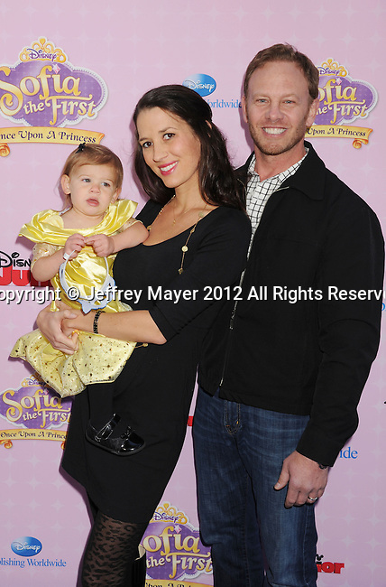 "BURBANK, CA - NOVEMBER 10: Ian Ziering and family arrive at the Disney Channel's Premiere Party For ""Sofia The First: Once Upon A Princess"" at the Walt Disney Studios on November 10, 2012 in Burbank, California."