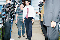 Republican presidential candidate and governor of Wisconsin Scott Walker leaves after speaking at a meet and greet with veterans at the Derry VFW in Derry, New Hampshire.