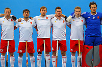 England players sing the national anthem during the Hockey World League Semi-Final match between England and Netherlands at the Olympic Park, London, England on 24 June 2017. Photo by Steve McCarthy.