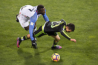 Columbus, Ohio - Friday, November 11, 2016: Jozy Altidore, Hirving Lozano during a USMNT vs Mexico WCQ at Mapfre Stadium. Mexico defeated the USA 2-1.