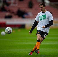 7th March 2020; Bet365 Stadium, Stoke, Staffordshire, England; English Championship Football, Stoke City versus Hull City; Robbie McKenzie of Hull City kicks the ball during the warm up