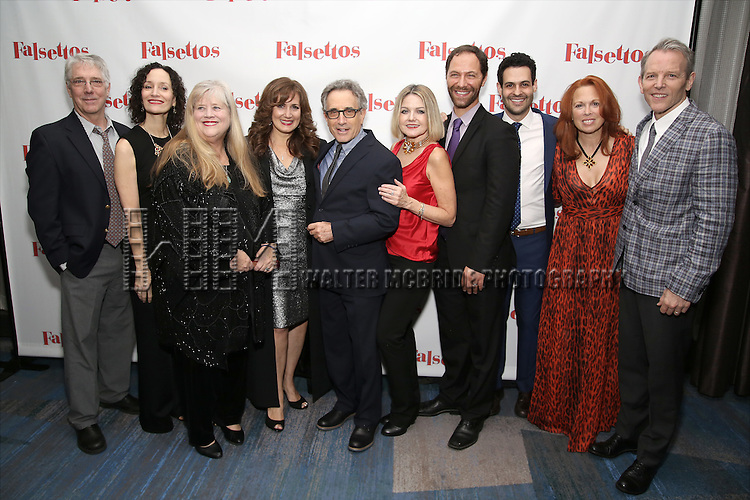 Michael Rupert, Barbara Walsh, Heather Macrae, Janet Metz, Chip Zien, Alison Fraser, Jonathan Kaplan, Andrew Leeds, Carolee Carmello and Stephen Bogardus attends the Opening Night After Party for 'Falsettos'  at the New York Hilton Hotel on October 27, 2016 in New York City.