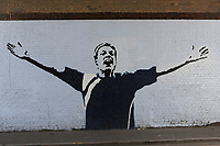 A Neil Harris mural is restored to Zampa Road just outside The Den during Millwall vs Stoke City, Sky Bet EFL Championship Football at The Den on 12th September 2020