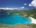 """June 24th, 2011, Ogasawara Islands, Japan - White sands and crystal clear waters of Kopepe Beach at Ogasawara's Chichijima in this undated file photo. The Ogasawara Islands, some 1,000 km south of Tokyo, was added to UNESCO's list of World Natural Heritage sites, becoming the Japan's fourth site to receive the designation on Friday, June 24, 2011. The chain of about 30 islands, dubbed the """"Galapagos of the Orient"""" for their unique wildlife, including an endangered bat species known as the Bonin flying fox and the black-footed albatross. (Photo by Naho Yoshizawa/AFLO) [1140] -mis-"""