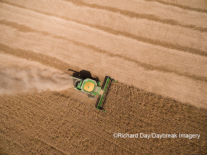 63801-09418 Soybean Harvest, John Deere combine harvesting soybeans - aerial - Marion Co. IL