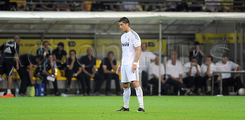 Real Madrid's Cristiano Ronaldo stands on the pitch during the soccer friendly match Borussia Dortmund vs Real Madrid on the occasion of Borussia Dortmund's 100th anniversary at Signal Iduna Park stadium in Dortmund, Germany, 19 August 2009. Madrid defeated Dortmund 5-0. Photo: Achim Scheidemann/ActionPlus. UK Licenses Only.