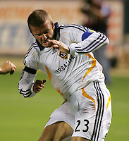 Los Angeles Galaxy midfielder (23) David Beckham reacts as he gets injured during the SuperLiga finals between the Los Angeles Galaxy of MLS and CF Pachuca of FMF at the Home Depot Center, Carson, CA, on August 29, 2007. Pachuca wins 4-3 on penalty kicks after the game finished in a 1-1 tie.