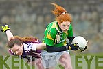 Louise Ní Mhuirceartaigh Kerry drives for the goal under pressure from Galway's  Sarah Conneally in their NFL game in Spa on Sunday