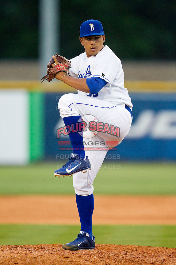 Burlington Royals relief pitcher Andres Machado (36) in action against the Pulaski Mariners at Burlington Athletic Park on June20 2013 in Burlington, North Carolina.  The Royals defeated the Mariners 2-1 in 13 innings.  (Brian Westerholt/Four Seam Images)