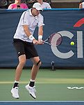 John Isner (USA)  defeats Victor Estrella Burgos (DOM)  6-3, 7-5 at the Citi Open in Washington, DC,  on August 5, 2015.