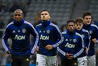 Andreas Pereira of Man Utd and teammates pre match during the Premier League match between Newcastle United and Manchester United at St. James's Park, Newcastle, England on 6 October 2019. Photo by J GILL / PRiME Media Images.