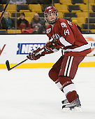 Peter Starrett (Harvard - 14) - The Harvard University Crimson defeated the Boston University Terriers 5-4 in the 2011 Beanpot consolation game on Monday, February 14, 2011, at TD Garden in Boston, Massachusetts.
