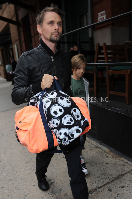 WWW.ACEPIXS.COM . . . . . .April 18, 2013...New York City....Matthew Bellamy and Ryder Robinson, leaving a hotel in Tribeca on April 18, 2013 in New York City ....Please byline: KRISTIN CALLAHAN - ACEPIXS.COM.. . . . . . ..Ace Pictures, Inc: ..tel: (212) 243 8787 or (646) 769 0430..e-mail: info@acepixs.com..web: http://www.acepixs.com .