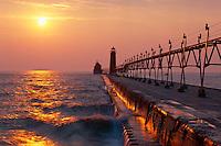 Grand Haven Light,  Lake Michigan<br /> Grand Haven State Park<br /> Grand Haven,  Ottawa County<br /> Lower Peninsula,  Michigan