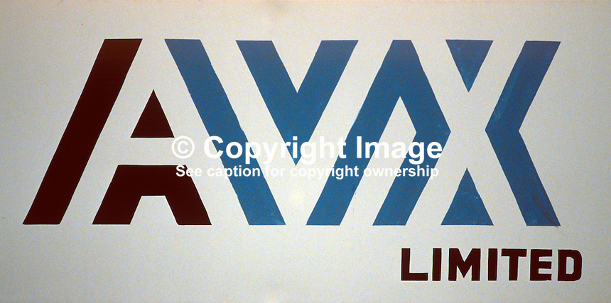 AVX Limited, Coleraine, N Ireland, UK, logo, 19840072AVX..Copyright Image from Victor Patterson, 54 Dorchester Park, Belfast, UK, BT9 6RJ..Tel: +44 28 9066 1296.Mob: +44 7802 353836.Voicemail +44 20 8816 7153.Skype: victorpattersonbelfast.Email: victorpatterson@me.com.Email: victorpatterson@ireland.com (back-up)..IMPORTANT: If you wish to use this image or any other of my images please go to www.victorpatterson.com and click on the Terms & Conditions. Then contact me by email or phone with the reference number(s) of the image(s) concerned.
