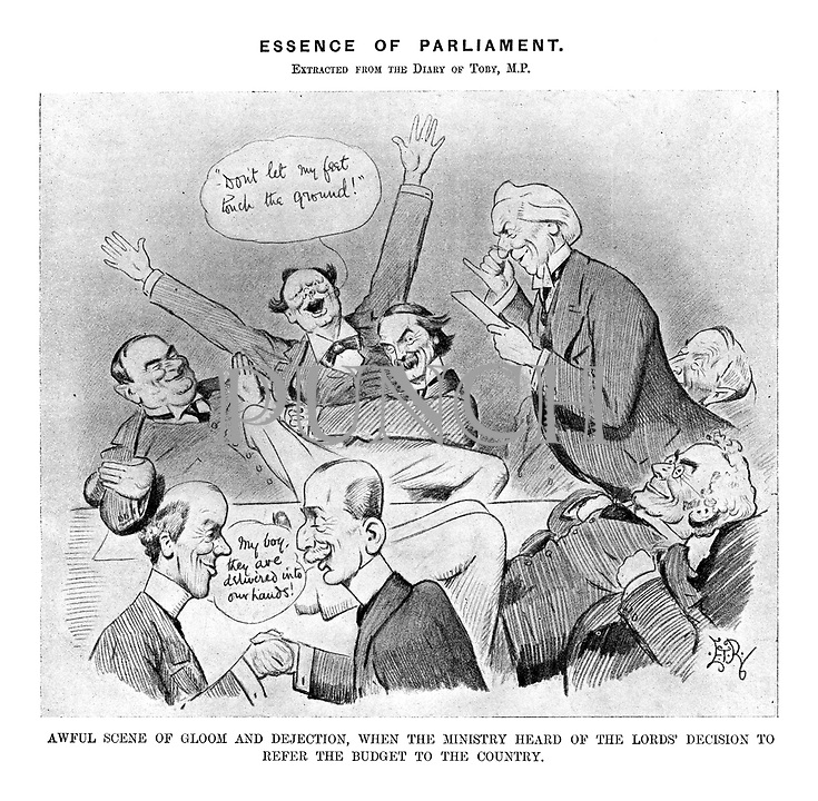 Essence of Parliament, Extracted from the Diary of Toby, MP. Awful scene of gloom and dejection, when the Ministry heard of the Lord's decision to refer the Budget to the country.
