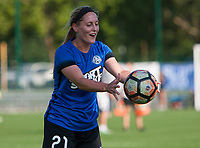 Kansas City, MO - Sunday July 02, 2017:  Caroline Flynn doing drills with a teammate before a regular season National Women's Soccer League (NWSL) match between FC Kansas City and the Houston Dash at Children's Mercy Victory Field.