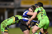Nick Auterac of Bath Rugby takes on the Northampton Saints defence. Aviva Premiership match, between Bath Rugby and Northampton Saints on February 9, 2018 at the Recreation Ground in Bath, England. Photo by: Patrick Khachfe / Onside Images