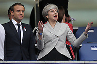 French President Emmanuel Macron and British Prime Minister Theresa May during the International Friendly match between France and England at Stade de France on June 13th 2017 in Paris, France.