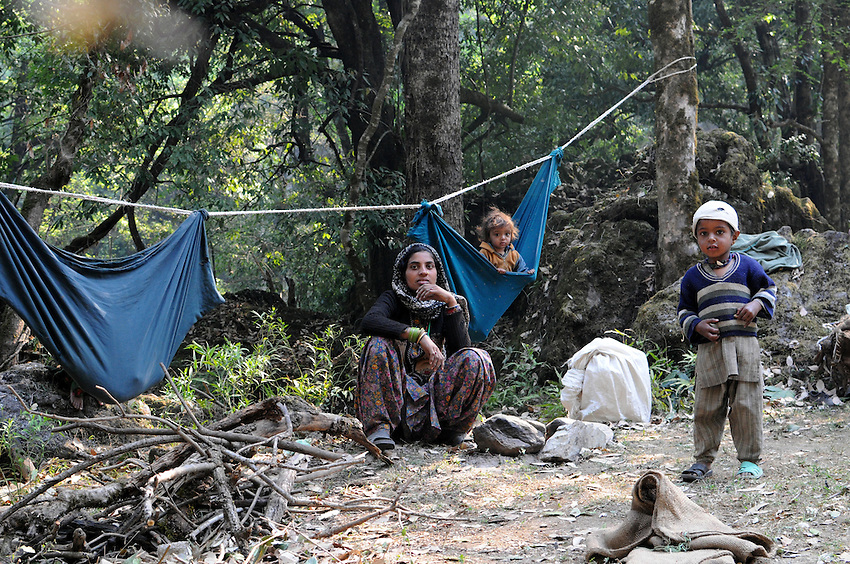 Camped on a trail in the Himalayan foothills.