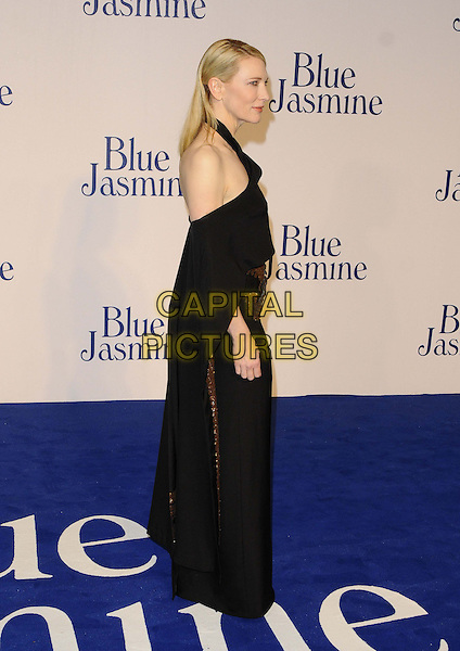 Cate Blanchett<br /> The &quot;Blue Jasmine&quot; UK film premiere, Odeon West End cinema, Leicester Square, London, England.<br /> September 17th, 2013<br /> full length black dress off the shoulder cape gold bronze embroidered side profile <br /> CAP/CAN<br /> &copy;Can Nguyen/Capital Pictures