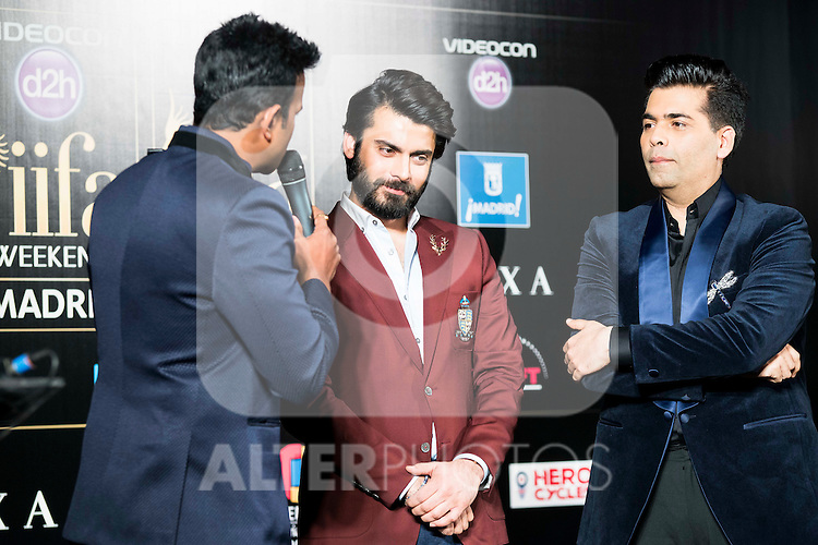 Actor Fawad Afzal Khan and Karan Johar during the presentation of the IIFA Awards in Madrid. June 23, 2016. (ALTERPHOTOS/BorjaB.Hojas)