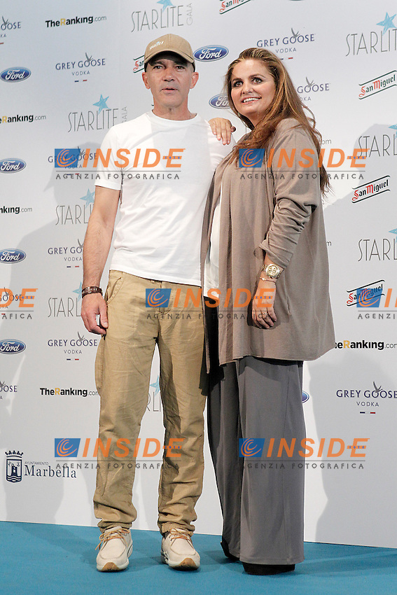 Spanish actor Antonio Banderas (c) and the founder and producer of the project Sandra Garcia-Sanjuan present the fourth edition of Starlite Gala.June 25,2013.(ALTERPHOTOS/Acero) <br /> Madrid 25/6/2013 <br /> Foto Alterphotos/Insidefoto
