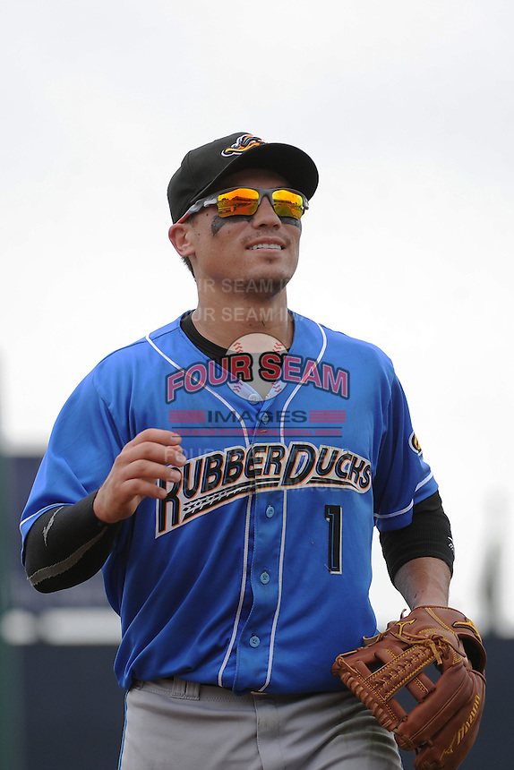 Akron RubberDucks infielder Tony Walters (1) during game against the Trenton Thunder at ARM & HAMMER Park on July 14, 2014 in Trenton, NJ.  Akron defeated Trenton 5-2.  (Tomasso DeRosa/Four Seam Images)