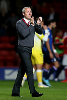 Charlton Manager, Lee Bowyer, applauds the home fans at the end of the match during Charlton Athletic vs Nottingham Forest, Sky Bet EFL Championship Football at The Valley on 21st August 2019