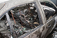 Remains of an abandoned car following a severe fire..©shoutpictures.com..john@shoutpictures.com