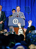 United States President George H.W. Bush campaigns for reelection at the Pinkerton Academy in Manchester, New Hampshire on February 16, 1992 prior to the 1992 New Hampshire Primary.<br /> Credit: Ron Sachs / CNP