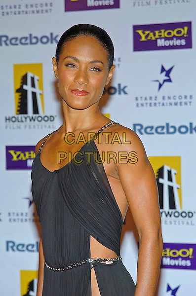 JADA PINKETT SMITH.8th Annual Hollywood Film Festival Hollywood Awards Gala Ceremony held at the Beverly Hilton Hotel, California, USA,18 October 2004..half length black dress revealing grecian style split leg sexy sheer.**UK SALES ONLY**.Ref: ADM.www.capitalpictures.com.sales@capitalpictures.com.©Capital Pictures.