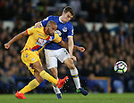 Andros Townsend of Crystal Palace tussles with Seamus Coleman of Everton during the Premier League match at Goodison Park Stadium, Liverpool. Picture date: September 30th, 2016. Pic Simon Bellis/Sportimage