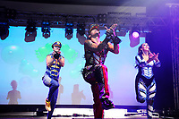 LONDON, ENGLAND - JUNE 3: Robin Pors, Donny Latupeirissa and Kim Sasabone of 'Vengaboys' performing at Mighty Hoopla at Brockwell Park, Brixton on June 3, 2018 in London<br /> CAP/MAR<br /> &copy;MAR/Capital Pictures