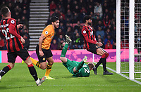23rd November 2019; Vitality Stadium, Bournemouth, Dorset, England; English Premier League Football, Bournemouth Athletic versus Wolverhampton Wanderers; Raul Jimenez celebrates scoring Wolverhampton Wanderers' second goal in 31st minute 0-2 - Strictly Editorial Use Only. No use with unauthorized audio, video, data, fixture lists, club/league logos or 'live' services. Online in-match use limited to 120 images, no video emulation. No use in betting, games or single club/league/player publications