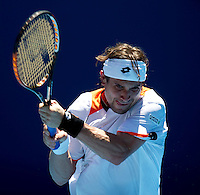 David Ferrer (ESP) (17) against Marcus Baghdatis (CYP) in the Seocnd Round of the Mens Singles. Baghdatis beat Ferrer 4-6 3-6 7-6 6-3 6-1..International Tennis - Australian Open Tennis - Thur 21 Jan 2010 - Melbourne Park - Melbourne - Australia ..© Frey - AMN Images, 1st Floor, Barry House, 20-22 Worple Road, London, SW19 4DH.Tel - +44 20 8947 0100.mfrey@advantagemedianet.com