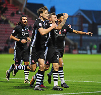 Lincoln City's Harry Anderson celebrates scoring his sides second goal<br /> <br /> Photographer Andrew Vaughan/CameraSport<br /> <br /> The EFL Sky Bet League Two - Crewe Alexandra v Lincoln City - Saturday 11th November 2017 - Alexandra Stadium - Crewe<br /> <br /> World Copyright &copy; 2017 CameraSport. All rights reserved. 43 Linden Ave. Countesthorpe. Leicester. England. LE8 5PG - Tel: +44 (0) 116 277 4147 - admin@camerasport.com - www.camerasport.com