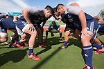 Ben May (L) and Brendon Edmonds. Maori All Blacks Train. Suva, Fiji. July 9 2015. Photo: Marc Weakley