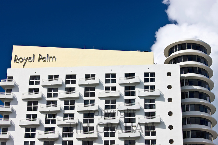 Art deco architecture at The Royal Palm Hotel in Miami South Beach, Florida, United States of America