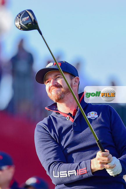 Jimmy Walker (USA) watches his tee shot on 2 during the Saturday morning foursomes at the Ryder Cup, Hazeltine National Golf Club, Chaska, Minnesota, USA.  10/1/2016<br /> Picture: Golffile | Ken Murray<br /> <br /> <br /> All photo usage must carry mandatory copyright credit (&copy; Golffile | Ken Murray)