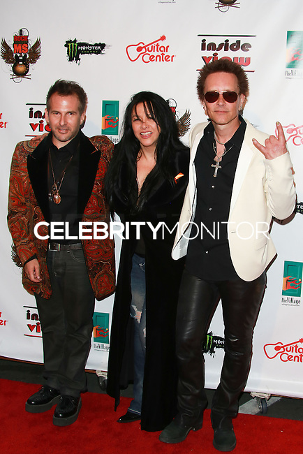 LOS ANGELES, CA, USA - OCTOBER 26: Joey Feldman, Nancy Sayle, Billy Morrison arrive at An Evening Of Art With Billy Morrison And Joey Feldman Benefiting The Rock Against MS Foundation held at Village Studios on October 26, 2014 in Los Angeles, California. (Photo by David Acosta/Celebrity Monitor)