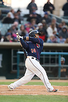 Jobduan Morales (14) of the Lancaster JetHawks bats during a game against the Modesto Nuts at The Hanger on April 25, 2015 in Lancaster, California. Lancaster defeated Modesto, 5-4. (Larry Goren/Four Seam Images)
