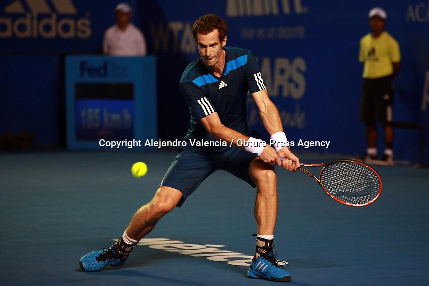 ACAPULCO, MEXICO - FEBRERO 27: Andy Murray (GBR) durante  el día tres del Abierto Mexicano de Tenis 2014 en el Estadio Pegaso, el 27 de Febrero de 2014, en Acapulco, Mexico. (Foto: Alejandro Valencia)