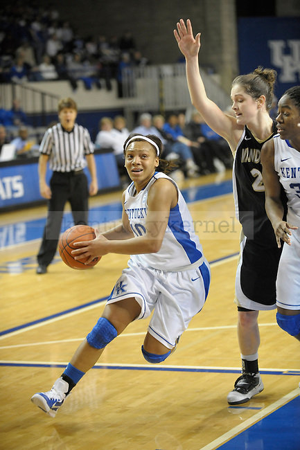 UK's Bernisha Pinkett cutting to the basket during the second half of the University of Kentucky Women's basketball game against Vanderbilt at Memorial Coliseum in Lexington, Ky., on 1/23/11. Uk led the game at half 78-68. Photo by Mike Weaver | Staff