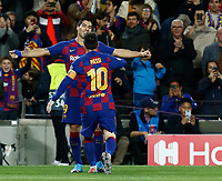27th November 2019; Camp Nou, Barcelona, Catalonia, Spain; UEFA Champions League Football, Barcelona versus Borussia Dortmund;  Luis Suarez celebrates after scoring his goal in the 29th minute for 1-0 with Leo Messi - Editorial Use