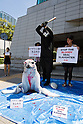 "August  22, 2012, Tokyo, Japan - A Grim Reaper character beats a baby seal prop in from of the Canadian Embassy in downtown Tokyo. Activists of the ""People for Ethnical Treatment of Animals"" (PETA) protest to stop Canada's unethical bloody seal slaughter whereas the European Union and the United States have already banned the use of seal products. (Photo by Christopher Jue/AFLO)"