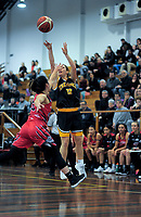Taranaki's Zoe Ebbitt shoots during the 2018 Women's Basketball League match between Canterbury Wildcats and Taranaki Thunder at Cowles Stadium in Christchurch, New Zealand on Sunday, 24 June 2018. Photo: Dave Lintott / lintottphoto.co.nz
